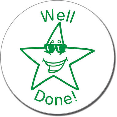 Well Done Stamper - Star - Green Ink (21mm)