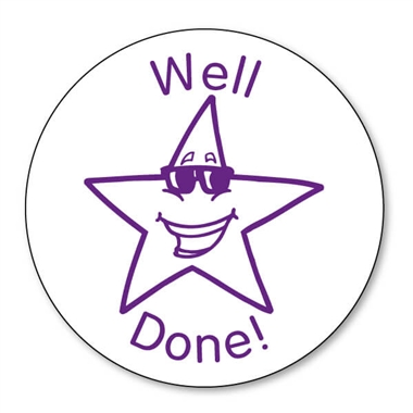 Well Done Star Stamper - Purple Ink (21mm)