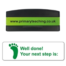 Well Done! Your Next Step is Stakz Stamper - Green Ink (44mm x 13mm)