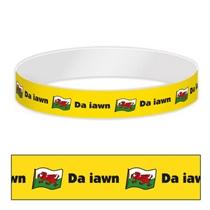 Welsh Da iawn Wristbands (10 Wristbands - 265mm x 18mm)