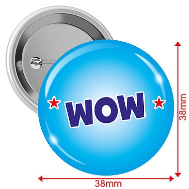 'WOW' Badges (10 Badges - 38mm)