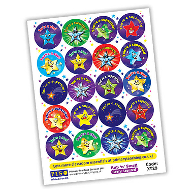 Scented BERRY Stickers - Stars and Superstars (20 Stickers - 32mm)