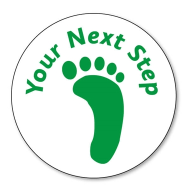 Your Next Step' Footprint Stamper -  Green Ink (25mm)