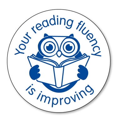 Your Reading Fluency is Improving Stamper - Blue Ink (25mm)